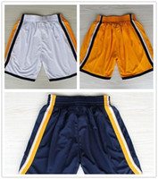Wholesale Hot Sale New Basketball Running Shorts Paul George Shorts Navy Gold White Embroidery Rev Basketball Shorts