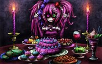 american desert animals - 24X36 INCH ART SILK POSTER dark horror macabre desert sweet cake candles flame evil girl purple gown scary creepy spooky eyes