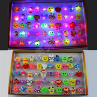 big finger rings - 50pcs Box LED jelly rings glowing finger rings cartoon animal Flashing rings LED toy Cartoon Flashing Ring for kid and adult Fun for party