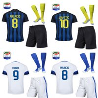 Wholesale 16 the full set soccer jersey with socks ICARDI PALACIO home and away jersey with socks and with league patches