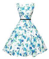 audrey hepburn prints - 2016 Cheap Vintage A Line Mid Calf Sleeveless Casual Dresses Flora Printed Audrey Hepburn Style s Rockabilly Dress XBS001