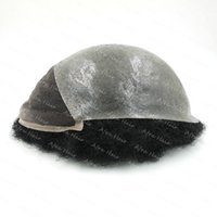 afro toupee - Mens Toupee Poly Skin Indian Remy Hair In Stock H025 Afro Curl Hair Replacement Hair Prosthesis