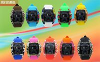digital flash - Mix Colors Watches Fashion Cool Flash LED Digital Watch Air Race Sports Silicone Led Electronic Binary Watch RW021