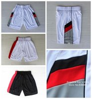Wholesale Portland Basketball Shorts Portland Damian Lillard White Black Rip City Basketball Shorts Size S XXL