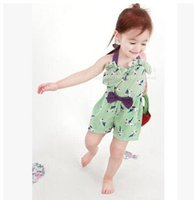 Wholesale Infant Summer Rompers baby girls romper sleeveless Rompers bandage bowknot Rompers Baby One Piece