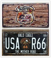 Wholesale 2PCS The Mother Road US Route Metal Tin Sign License Plate Man Cave Home Bar Wall Decor Plaque Art Poster