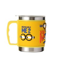 Wholesale New Design Stainless Steel Coffee Mugs Cups Embossed Cartoon Yellow Handle With Lid Metal Water Cups