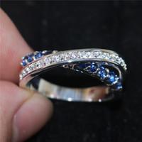 al por mayor anillo de la piedra preciosa cruz-Moda azul zafiro Cubic Zirconia joyería de la piedra preciosa hembra 925 cruzadas de compromiso de la boda anillos de banda para las mujeres