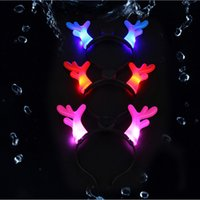 antler decor - Cartoon LED Flash Antlers Hairpin Headband Halloween Party Props Costume Ball concert Party Decor Christmas Gifts Kids Toys led glow light