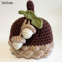 Wholesale Acorn Baby Beanie Hat Pure Handmade Knit Crochet Autumn Winter Baby Hat Baby Photography Prop