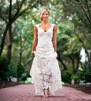 Cheap 2016 Chic Rustic Full Lace Wedding Dresses Cheap V Neck Hollow Back Long Sweep Train Boho Garden Bridal Gown Custom Made Country Style New
