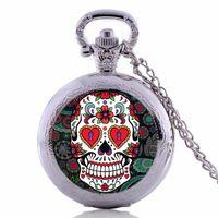 antique skull pocket watch - Antique silver vine Skull pocket watch Necklace skull pocket watch sugar skull necklace
