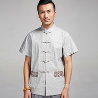 Wholesale High quality Chinese Men s kung fu shirt Short Sleeve Linen Casual shirt wing chun Blouse apparel summer clothing for male