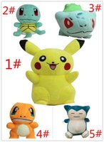 Wholesale 2016 new Poke baby doll Pikachu Bulbasaur Squirtle Charmander Plush Toys Stuffed Baby Doll quot cm high quality A100109