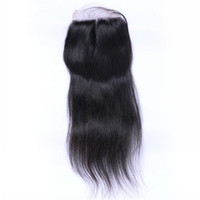 Wholesale 8A Lace Closure Straight Free Middle Three Part Brazilian Hair Closure Malaysian Indian Mongolian Peruvian Closures With Baby Hair