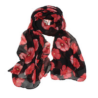 best beach deals - Best Deal New Women Red Poppy Flower Print Long Scarf Flower Beach Wrap Ladies Stole Shawl Gift PC