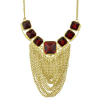Wholesale Fashion Elegent Red Square Rhinestone Gold Color Chain Tassel Necklace
