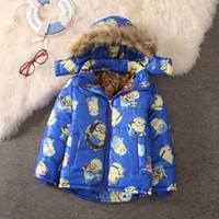 Wholesale Hot Sale Winter Baby Girls Boys Minion Coats Children Warm Outdoor Cotton padded Jacket Kids Casual Thick Outerwear Parkas