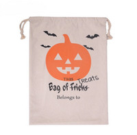 Wholesale 100pcs Halloween Treat Bags Sacks Candy Gifts Bag Treat or Trick Drawstring Bag Cotton Canvas Kids Pumpkin Spider Tote Bag WA1104