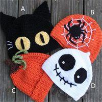 baby girl pumpkin - Children Halloween Hats Caps Style Boys girls Spider Pumpkin Ghost Cat Crochet Handmade Kids Hats Baby Knitted Hat Cap