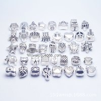 antique flats - Antique Silver Mix Styles Metal Alloy Beads Big Hole Charms fit pandora bracelet DIY Jewelry
