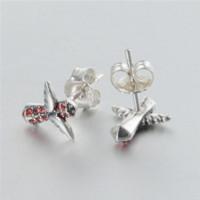 Charm aquamarine gold earrings - Angel Wings Cross Sterling Silver Rhinestone Fashion Earrings Er1024 Cheap earring box High Quality earrings aquamarine