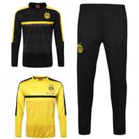 Wholesale 2017 Dortmund Sweater Long Sleeve Yellow Jacket Match Black Pants Dortmund Sweater Tracksuit Set Soccer Training Suit