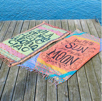 Wholesale Tassel rectangular beach towels fashion women Sunblock Cover Ups Beach Towel color Letter style beach mat New Hot LJJH1423