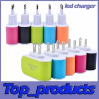 Wholesale US EU Plug USB Wall Chargers V A LED Adapter Travel Convenient Power Adaptor with triple USB Ports For Mobile Phone