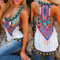 achat en gros de imprimé floral t-shirts femmes-Femmes Vintage Summer National Printed Vest Tops sans manches Tank Tee Livraison gratuite