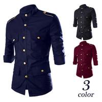 Wholesale Multi Pocket Mens Autumn Shirts Mid Sleeve Solid Casual Dress Shirts For Mens Epaulet Design Men Shirts Metal Button Slim Mens Shirt J160802
