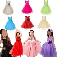 Wholesale Retail New Children Clothes Girl Party Dresses Embroidery Flower Solid Color Stage costumes Girls Dresses Tu Tu Skirt
