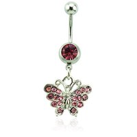 Wholesale Body Piercing Fashion Belly Button Rings L Stainless Steel Barbells Pink Rhinestone Butterfly Navel Piercing Jewelry