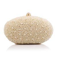 beading eggs - Women Goose Egg Shape Pearl Beads Clutch Bags Fashion Banquet Bag Chain Shoulder Bag Evening Bag Beautiful HuiLin KY103
