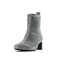 bare boots - 2016 spring and autumn female boots with round Martin boots thick with Europe and shiny new boots and bare XZ