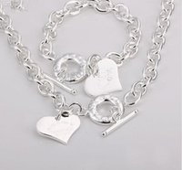 Wholesale and Retail lowest price Christmas gift silver love Necklace Bracelet set set