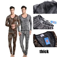 Cheap Wholesale-Shino Cotton Men Thermal Set Underwear Wild Leopard Print Suit Keep Warming Long Johns Pants Long Shirt Winter Sleepwear M-XL