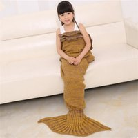 Wholesale Kids Crochet Mermaid Blankets Handmade Mermaid Tail Blankets Mermaid Tail Sleeping Bag Knit Sofa Nap Blankets Costume Cocoon ZD106A
