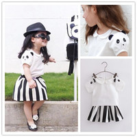 Wholesale 2016 Hotsell Girls Summer Outfits Cute Panda Sleeve Shirt Wide Striped Skirt Sets Casual Outfits Black White K7173
