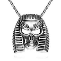 american torque - 316L Stainless Steel Necklace Pendant for Men Punk Style Skull Pendant For Bikers Charm Jewelery For Hip Hop Lovers High Quality Torque