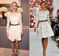 apple hunger - Little White Lace Celebrity Prom Dresses Jennifer Lawrence Sheer Long Sleeves Boat Neckline A Line Knee Length No Belt Hunger Games