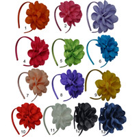 venda por atacado baby wholesale-Atacado 13 cores Venda quente Meninas de flor hairbands fita Sólidos faixas do cabelo do bebê Arcos Banda fita Crianças Acessórios de cabelo