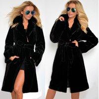 Wholesale New Design Autumn Winter Long Ladies Fashion Fall Faux Fur Coats Black Elegant Slim Long Sleeve OverCoat Hooded Outerwear Coat With Belt
