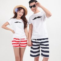 Wholesale Summer Women Men Couples Beach Striped Short Pants Surf Board Rope Swim Shorts