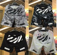 Wholesale High Quality Mens womens Shorts OFF WHITE Pyrex version hipa VIRGIL ABLOH Kanye Hip Hop West casual short pants Bboy streetwear