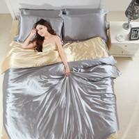 Wholesale Silk Satin luxury bedding set x sets bed sheet duvet cover pillowcase set Silver violet red Home textile