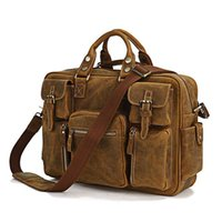 bg color - 2016 Popular O A L Brand New Men s Brown Color Genuine Crazy Horse Leather Briefcase Bag BG