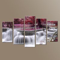 Wholesale 5 Piece Canvas Art Waterfall Painting Canvas Wall Art Picture Home Decoration Living Room Painting Large Canvas Art Unframed