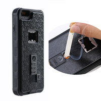 Wholesale Customized branded cigarette lighter mobile phone case with USB charger for iPhone plus With Packing bag Free USB Cable Black White