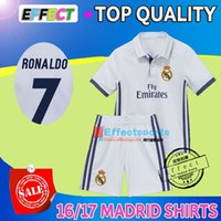 Wholesale 2017 madrid RONALDO kids soccer jerseys Uniforms sets youth boys child kits Home White Purple RONALDO JAMES BALE ISCO football shirts